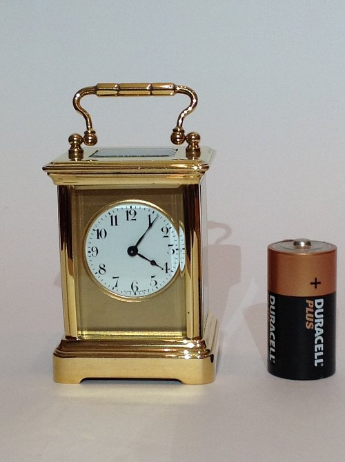 Small French Carriage Clock with battery showing size of clock