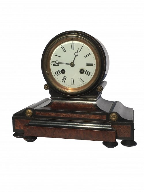 French walnut ebonised mantle clock