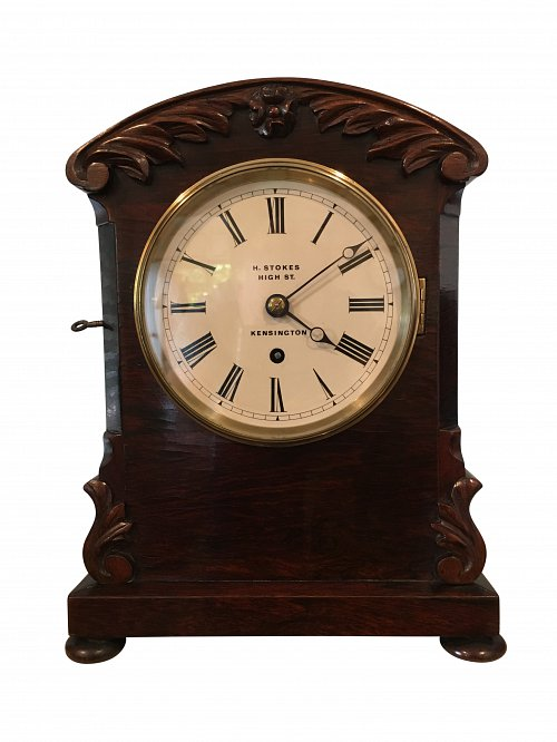 English fusee rosewood bracket clock