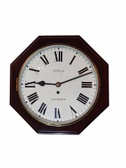 Mahogany Octagonal English Wall Clock